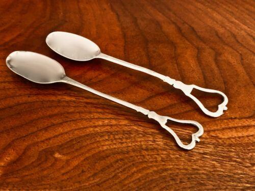 - (2) ITALIAN 18thC / EARLY 19THC SILVER SPOONS: LOOPED FINIALS IN A CROWN SHAPE