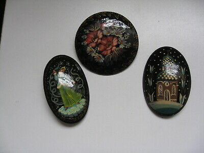 Vintage RUSSIAN Lot of 3 Brooches (two signed)