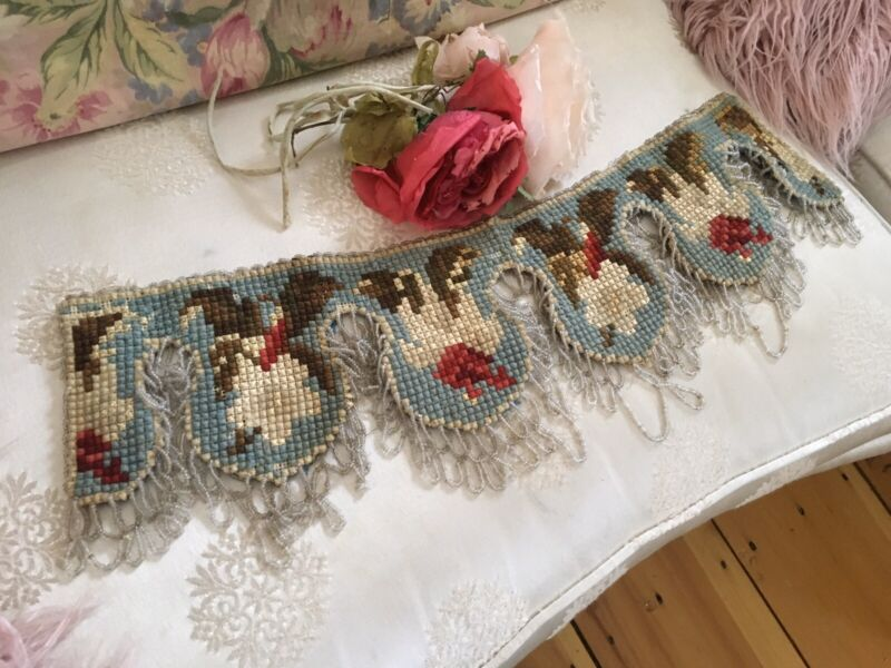 Lovely Antique Victorian Needlework Valance. Beaded Trim Floral #A