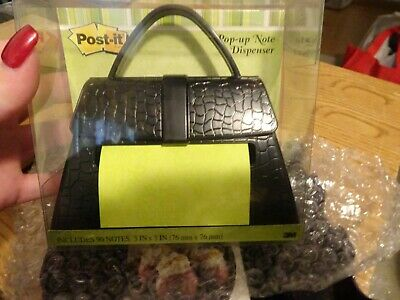 Post-it Brand Pop-up Note Dispenser Black Purse New