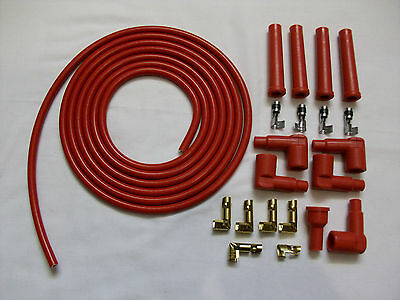 ALL RED 85MM PERFORMANCE IGNITION LEAD KIT FOR THE 4 CLY 3 METERS IDEAL KIT CAR