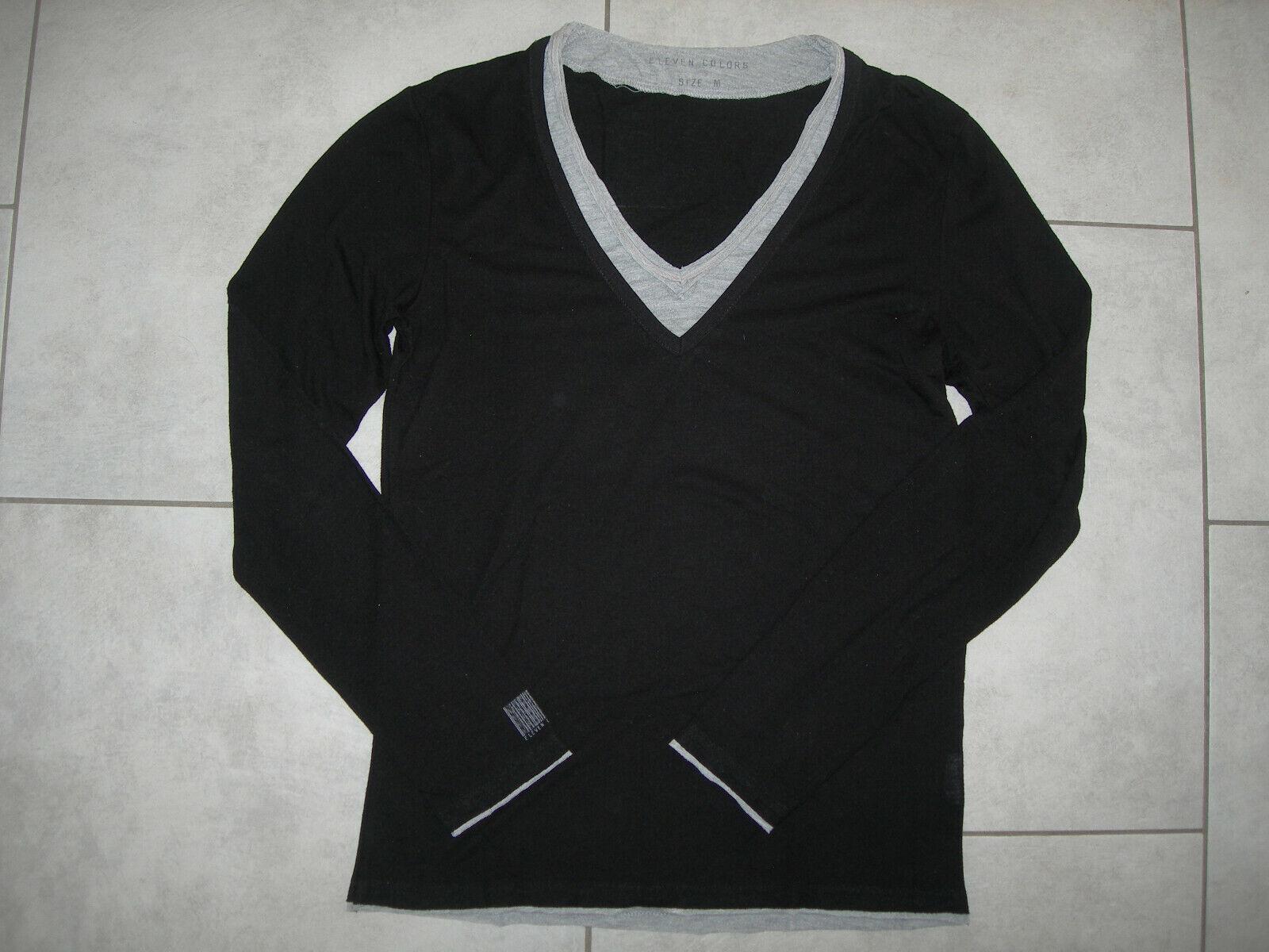 Tee shirt noir à manches longues eleven colors, effet superposition taille m