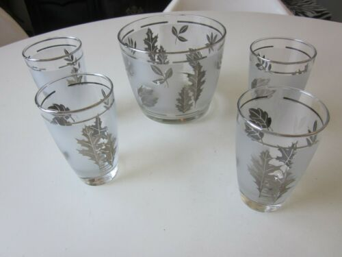 Vintage Libbey Silver Leaves Ice Bucket with 4 Cocktail Glasses