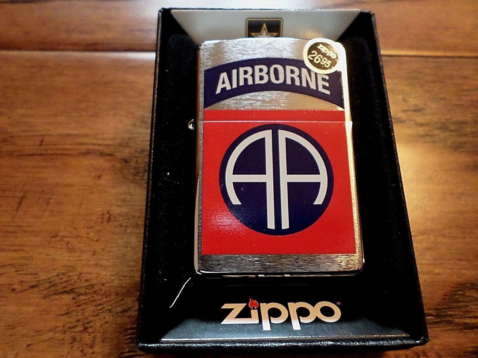 U.S ARMY 82ND AIRBORNE BRUSHED CHROME ZIPPO LIGHTER U.S MILI