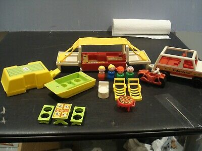 1979 fisher price 992 car and camper w/ boat motorcycle tent trailer made in USA