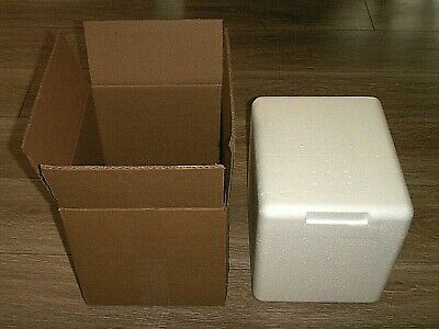 Styrofoam Insulated Fragile Cooler Shipping Container Cube 11x10x9 Outer Box