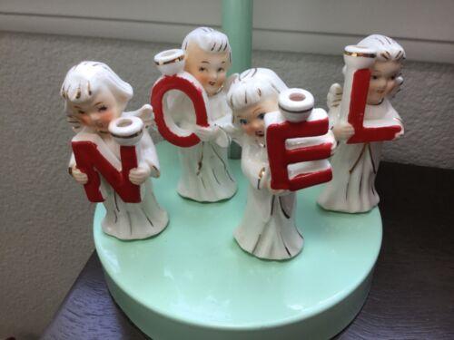 Vintage ceramic Christmas NOEL angel candle holder Japan