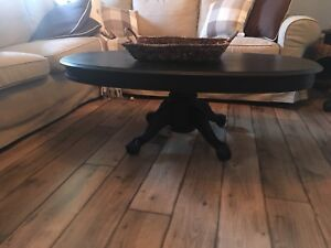 Wood Antique Black Oval Pedestal Coffee table