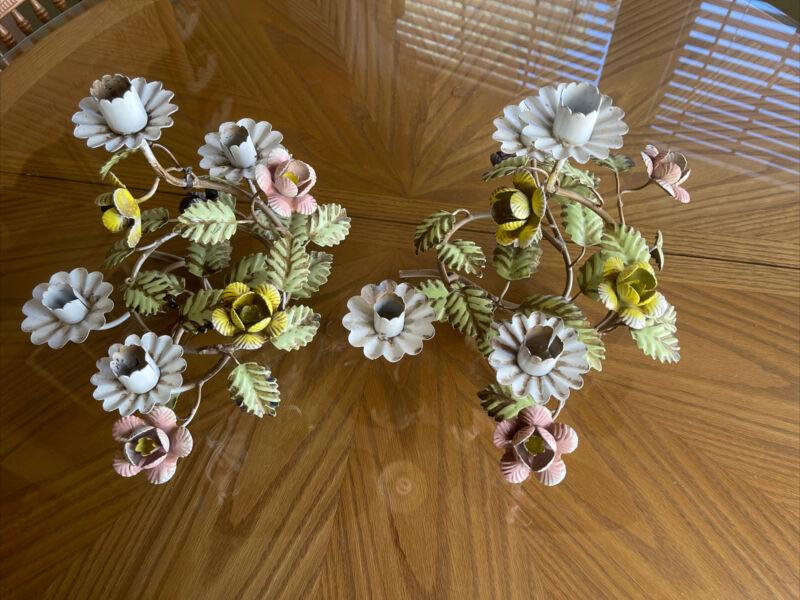Vintage Pair Italian Tole Floral Plant Candelabra