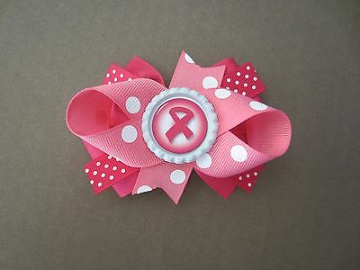 Breast Cancer Awareness Bows (Breast Cancer Awareness Hair Bow Infant Toddler With or W/O Headband *SHIPS)