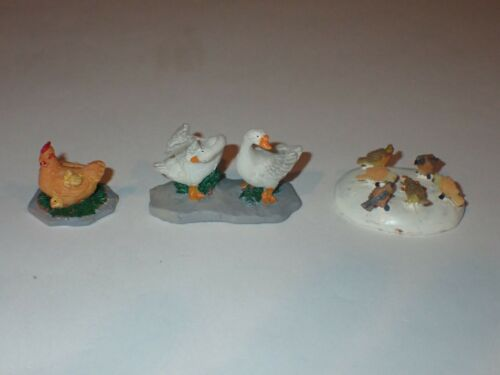 Lemax Chickens Chicks Geese Christmas Village Figures Set of 3