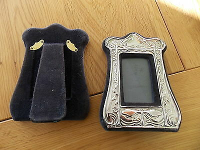 Matching Pair London Sterling Silver easel backed blue velvet photo frames1985