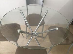 Round Dining table and 4 leather chairs $149+FREE DELIVERY