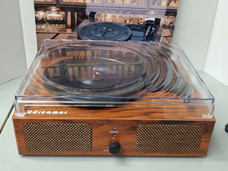 Udreamer Vinyl Record Player Bluetooth Turntable Built-in Speakers Brown USED