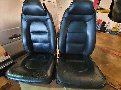 Pair Of Front SAAB 9-3 93 AERO Black Full Leather Electric Seats T5 Camper