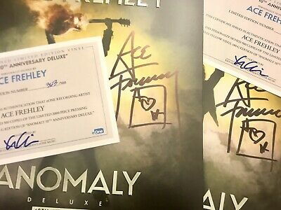 Ace Frehley Signed KISS Yellow Vinyl Anomaly 10th Ann 2LP Jacket Autograph