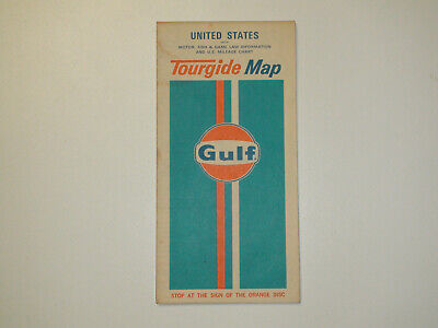 Vintage 1972 Gulf United States Tourgide Map Motor, Fish Game Laws Mileage Chart