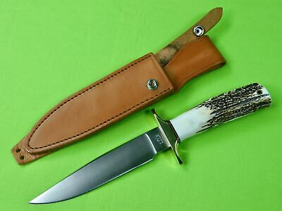 Vintage Custom Made Handmade Jimmy LILE Dot Fighting Stag Knife w/ Sheath