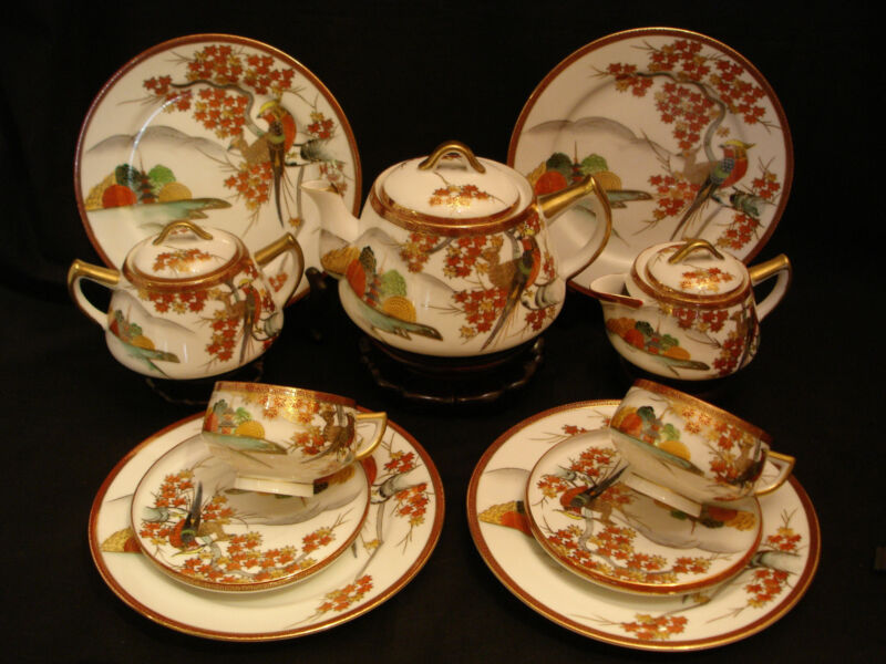 MARKED Kutani JAPANESE TAISHO SATSUMA TEA POT / EGG SHELL CUP SAUCER / PLATE SET