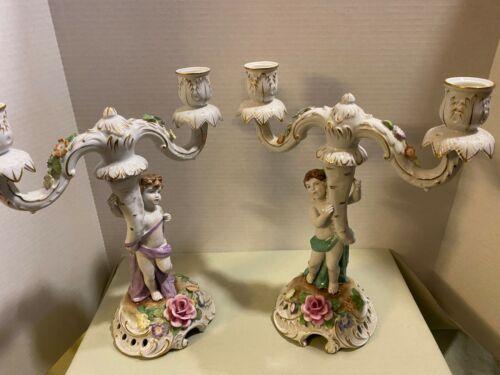 Pair Dresden Von Schierholz Porcelain Cherub Candlestick Dbl Candelabra Holders