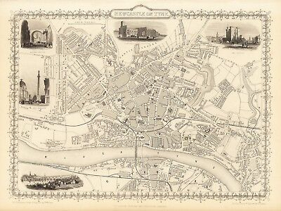 Antique Newcastle on Tyne England decorative map Tallis 31,5 x 23,6 inch canvas