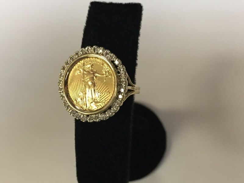 14K Gold  21 MM COIN RING with a 22K 1/10 OZ AMERICAN EAGLE COIN WITH .25 TCW