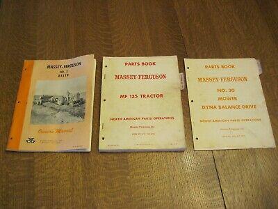 Lot Of 3-massey Ferguson Manuals Parts Books- 3 Baler 30 Mower Mf135 Tractor