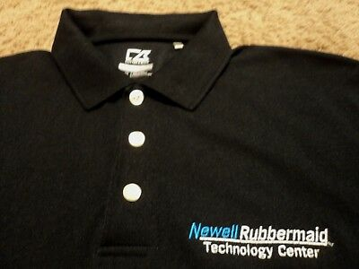 Mens Newell Rubbermaid Technology Center Embroidered Black Polo Golf Shirt Nice