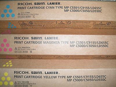 Genuine Ricoh Savin Lanier 841453 841454 841455 Mp C5501c9155ld655c C5000