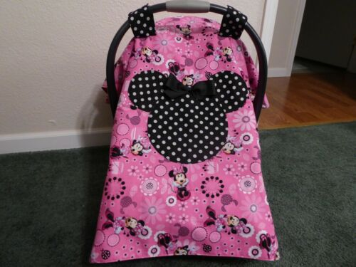 **MINNIE MOUSE**w/polka dots Handmade Baby Car Seat Canopy-Cover