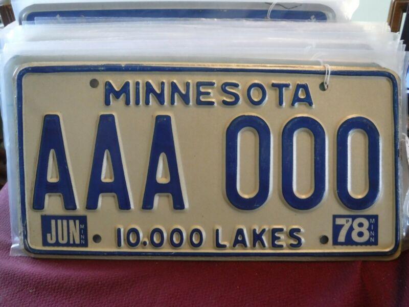 Minnesota License Plate 1978 sample # AAA 000