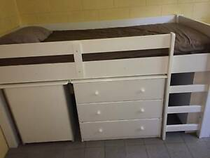 Captain Snooze single white low bunk bed with mattress & bookcase Caravonica Cairns City Preview