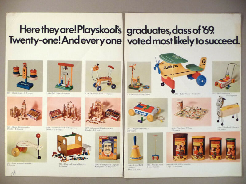 Playskool Toy 5-Page PRINT AD - 1969 ~ new toys