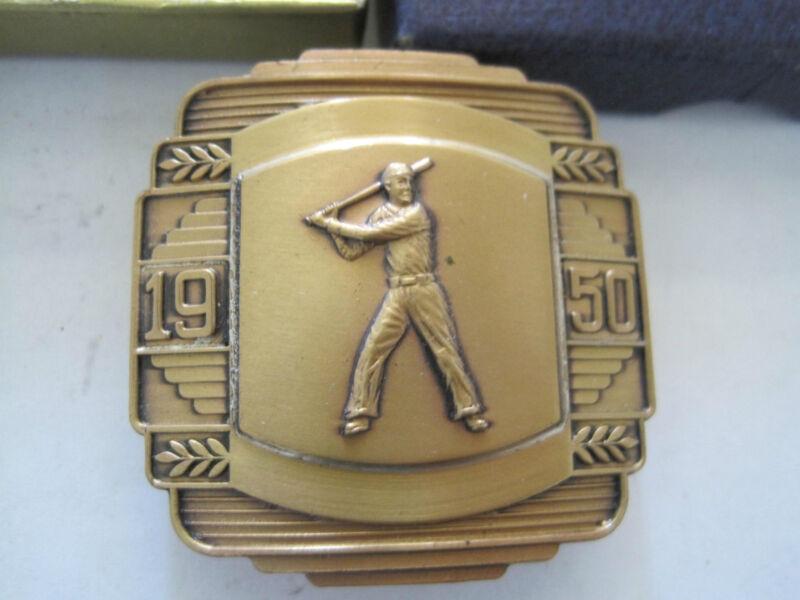 Baseball Belt Buckle 1950 Gold Tone