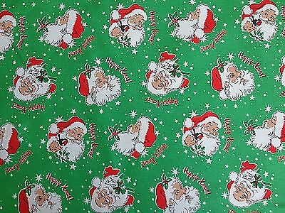 Cath Kidston, Santa Claus Merry Xmas Green, 100% Cotton Duck Fabric Cut By Size
