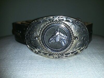 Vtg Horse Head Buckle Hand Tooled Leather Belt - Size 42