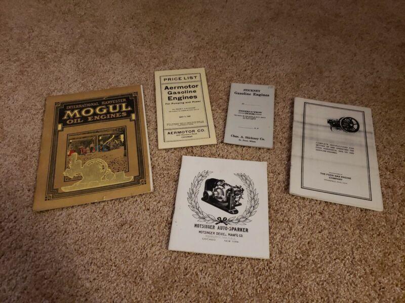 5 Engine Manuals Aermotor Mogul Motsinger Stickney Foos Reprint