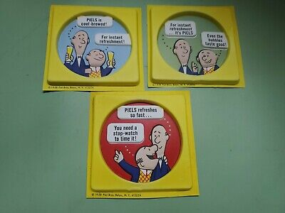 1958 Piels beer plastic coaster? Lot of 3 different