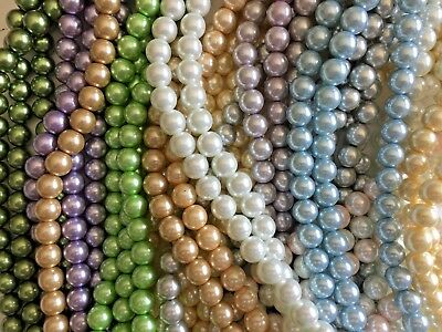 Closeout Clearance Bulk Lot 30 Strands 14mm Glass Faux Pearls Beads Mixed Colors](Bulk Pearls)