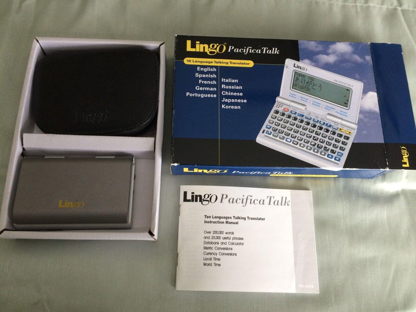 LINGO PACIFICA TALK Model TR-2203 10 LANGUAGE TRANSLATOR w/ Box & Case-NO VOICE!
