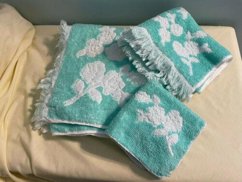 Vtg 60s MCM Cannon Royal Family 3 Teal Sculpted Bath Hand Towel Set Cotton USA