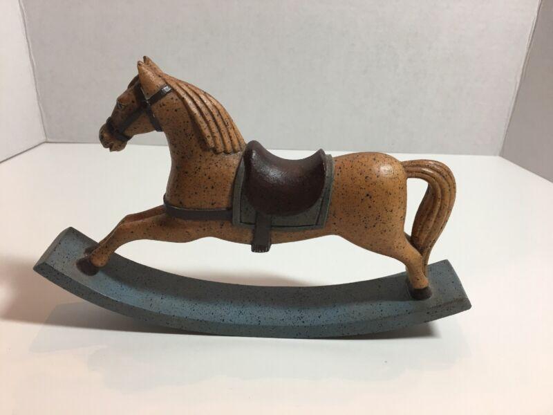 Vintage Rocking Horse Vestwood Composition Folklore Collection Mustard Blue 1982