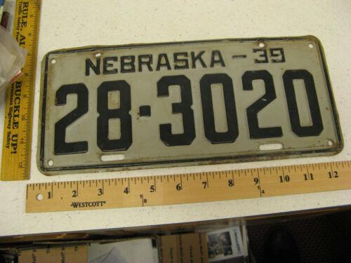 1939 39 NEBRASKA NE LICENSE PLATE #28-3020 HAMILTON COUNTY -