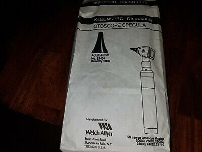 Bag Of 960 Welch Allyn Kleenspec Disposable Otoscope Speculas Adult 4 Mm 52434