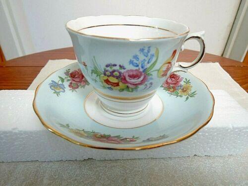 Colclough Cup and Saucer #6780 Light Blue Floral w Gold Trim England