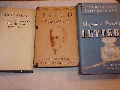 Lot of 3 vintage Freud books - His life and his mind Letters Anna Freud - LOTFOL