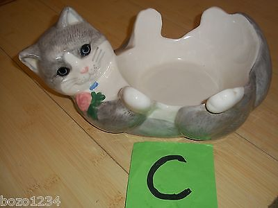 VINTAGE HANDMADE CERAMIC WHIMSICAL GREY CAT KITTY KITTEN FEED FOOD WATER BOWL **