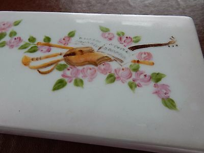 BOUDOIR TRINKET BOX FOR VIOLIN PLAYER  VGC ANTIQUE ITEM  HAND PAINTED 14X8X4cm