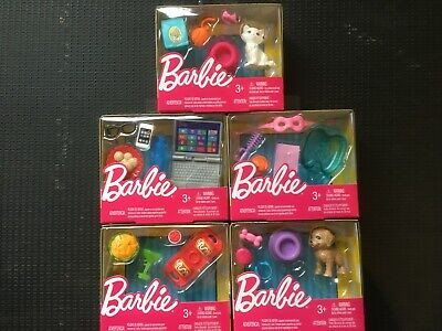 5 Packs of Barbie Accessories - Puppy, Kitten, Taco Time, Technology and Spa Day