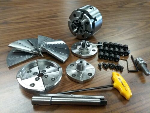 """4"""" wood lathe chuck kit w 5 sets jaws of different sizes 1""""x8TPI mounting 0404WD"""